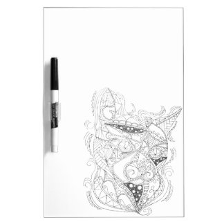 Cat Art Black and White Coloring Design Dry-Erase Boards