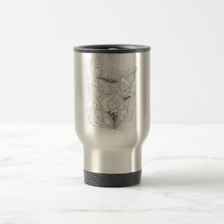 Cat Art Black and White Coloring Design Travel Mug