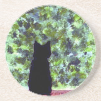 Cat Art Black Cat Bird Watching! Coaster