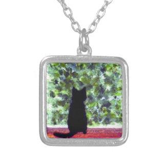 Cat Art Black Cat Bird Watching! Silver Plated Necklace