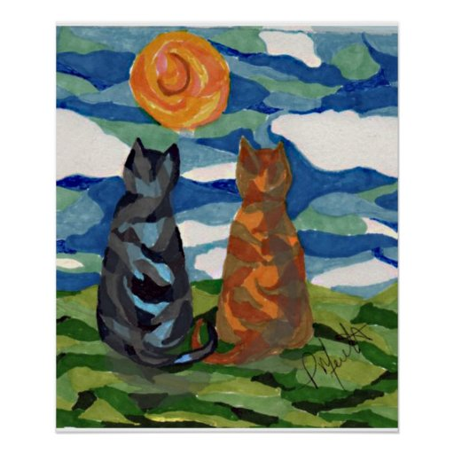 Cat Art    Cat's Daydream Poster
