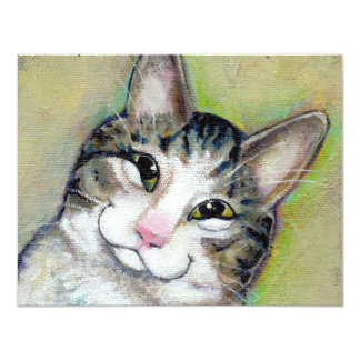 """Cat art fun portrait My Middle Name is Trouble 4.25"""" X 5.5"""" Invitation Card"""