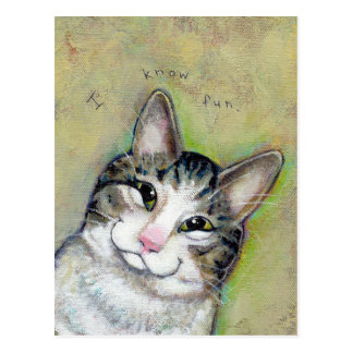 Cat art fun portrait My Middle Name is Trouble Postcard