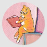 Cat art reading fun - Marmalade Prefers Solitude Round Sticker