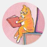 Cat art reading fun - Marmalade Prefers Solitude Round Sticker