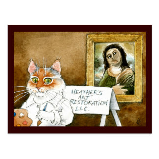 Cat Art Restoration Spanish Fresco spoof Postcard