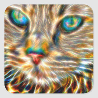 Cat Art Square Stickers - Glossy