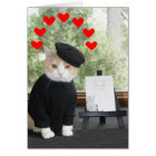 Cat Artist in Love Valentine Card