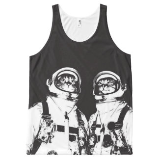 cat astronaut - black and white cat - cat memes All-Over-Print tank top