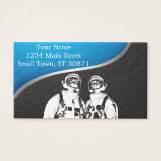 cat astronaut - black and white cat - cat memes business card