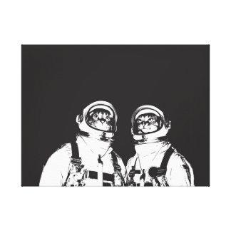 cat astronaut - black and white cat - cat memes canvas print
