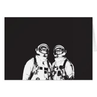 cat astronaut - black and white cat - cat memes card