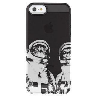 cat astronaut - black and white cat - cat memes clear iPhone SE/5/5s case