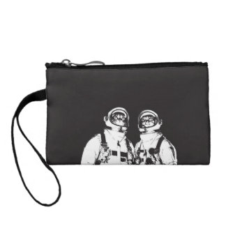 cat astronaut - black and white cat - cat memes coin purse
