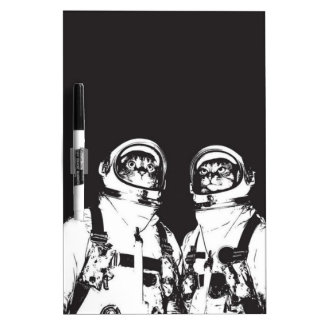 cat astronaut - black and white cat - cat memes dry erase board