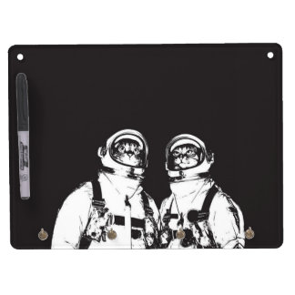cat astronaut - black and white cat - cat memes dry erase board with keychain holder