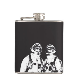 cat astronaut - black and white cat - cat memes hip flask