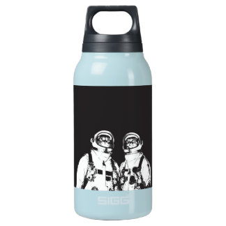 cat astronaut - black and white cat - cat memes insulated water bottle