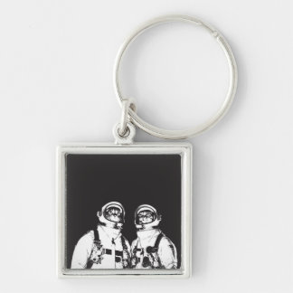 cat astronaut - black and white cat - cat memes keychain