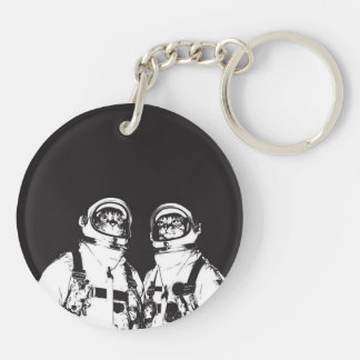 cat astronaut - black and white cat - cat memes keychain