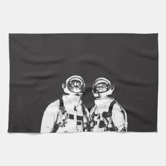 cat astronaut - black and white cat - cat memes kitchen towel