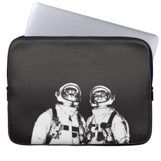 cat astronaut - black and white cat - cat memes laptop sleeve
