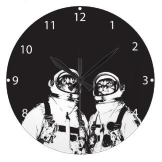 cat astronaut - black and white cat - cat memes large clock