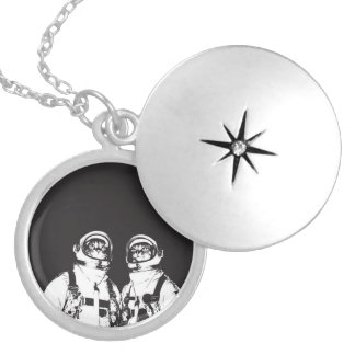 cat astronaut - black and white cat - cat memes locket necklace