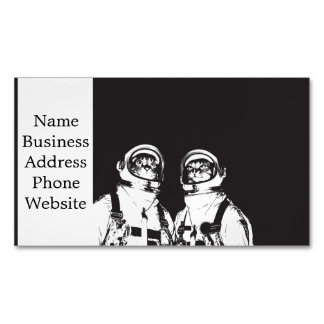 cat astronaut - black and white cat - cat memes 	Magnetic business card