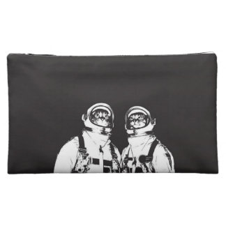 cat astronaut - black and white cat - cat memes makeup bag