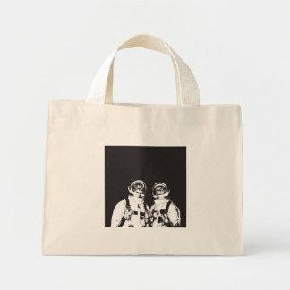 cat astronaut - black and white cat - cat memes mini tote bag