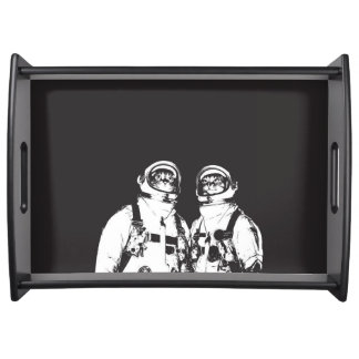 cat astronaut - black and white cat - cat memes serving tray
