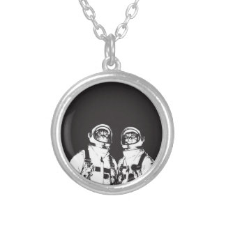 cat astronaut - black and white cat - cat memes silver plated necklace