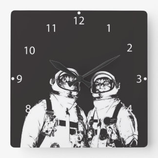 cat astronaut - black and white cat - cat memes square wall clock