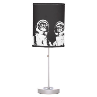 cat astronaut - black and white cat - cat memes table lamp