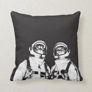 cat astronaut - black and white cat - cat memes throw pillow