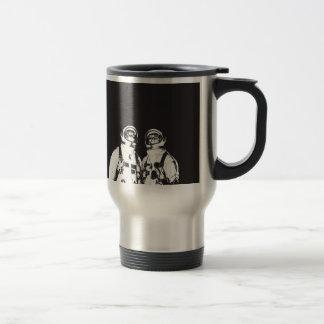 cat astronaut - black and white cat - cat memes travel mug