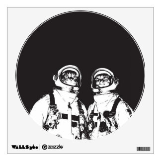 cat astronaut - black and white cat - cat memes wall decal
