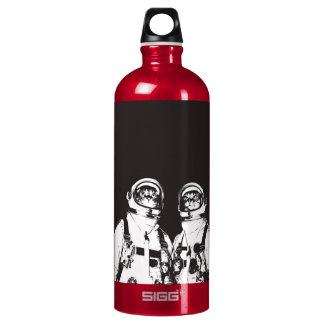 cat astronaut - black and white cat - cat memes water bottle