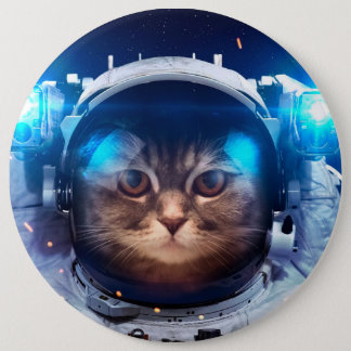 Cat astronaut - cats in space  - cat space 6 inch round button