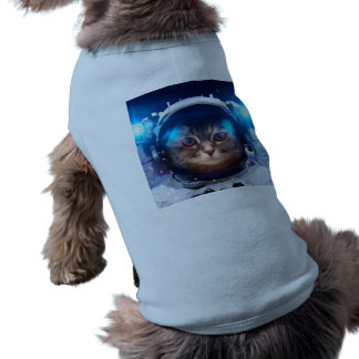 Cat astronaut - cats in space  - cat space doggie tee shirt