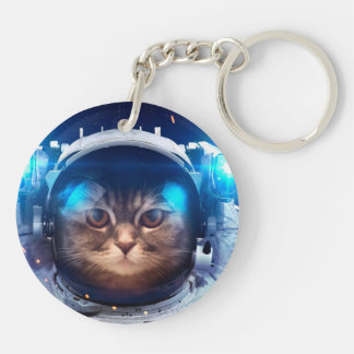 Cat astronaut - cats in space  - cat space keychain