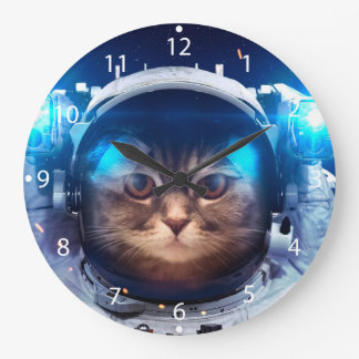Cat astronaut - cats in space  - cat space large clock