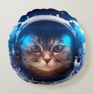 Cat astronaut - cats in space  - cat space round pillow