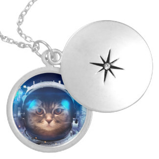 Cat astronaut - cats in space  - cat space silver plated necklace
