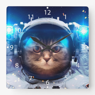 Cat astronaut - cats in space  - cat space square wall clock