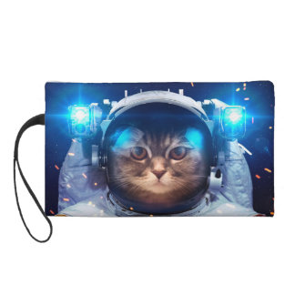 Cat astronaut - cats in space  - cat space wristlet