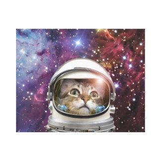 Cat astronaut - crazy cat - cat canvas print