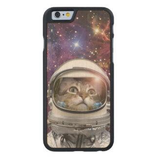 Cat astronaut - crazy cat - cat carved maple iPhone 6 case