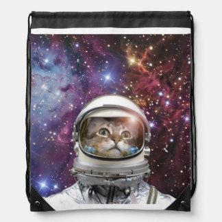 Cat astronaut - crazy cat - cat drawstring bag